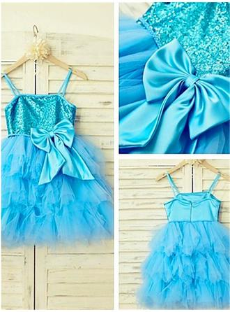 Square Neckline A-Line/Princess Flower Girl Dresses Tulle/Sequined Bow(s) Sleeveless Knee-length