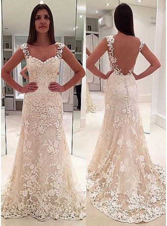 Sheath/Column Sweetheart Court Train Wedding Dresses With Appliques Lace