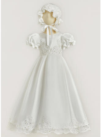 Satin Lace Scoop Neck Beading Baby Girl's Christening Gowns With Short Sleeves