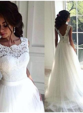 Scoop A-Line/Princess Wedding Dresses Tulle Lace Sash Beading Sleeveless Sweep Train