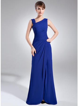 Etui-Linie V-Ausschnitt Bodenlang Kleider für die Brautmutter mit Rüschen Perlstickerei Schlitz Vorn