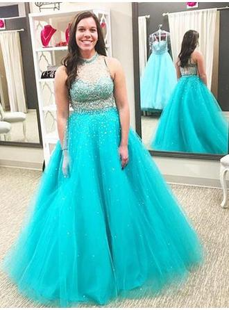 Ball-Gown Tulle Prom Dresses Elegant Floor-Length High Neck Sleeveless