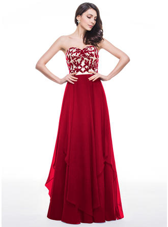 Chiffon Strapless Sweetheart A-Line/Princess Prom Dresses