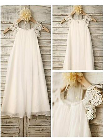 Delicate Tea-length A-Line/Princess Flower Girl Dresses Scoop Neck Chiffon Sleeveless (010211752)