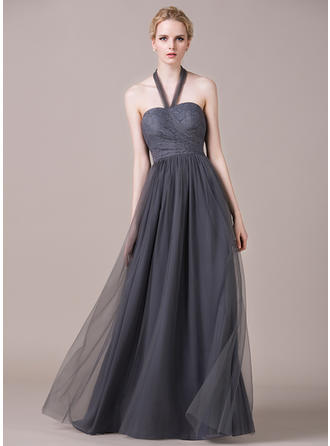 A-Line/Princess Tulle Lace Bridesmaid Dresses Ruffle Halter Sleeveless Floor-Length