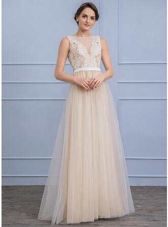 A-Line Scoop Neck Floor-Length Tulle Wedding Dress With Beading Sequins