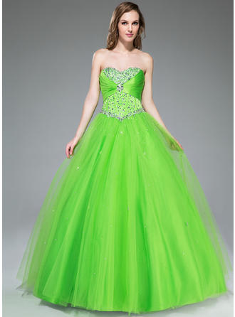 Tulle Sleeveless Ball-Gown Prom Dresses Sweetheart Ruffle Beading Sequins Floor-Length