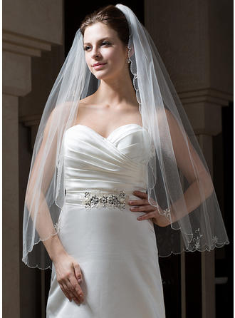 Fingertip Bridal Veils Tulle One-tier Classic With Scalloped Edge Wedding Veils