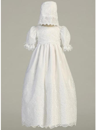 A-Line/Princess Scoop Neck Floor-length Satin Christening Gowns With Flower(s)
