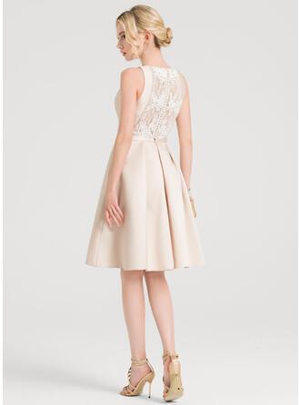 A-Line Scoop Neck Knee-Length Satin Cocktail Dress