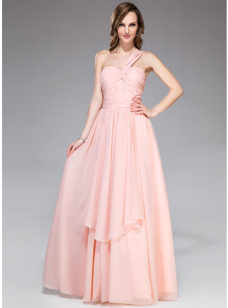 Chiffon Sleeveless A-Line/Princess Prom Dresses One-Shoulder Ruffle Floor-Length
