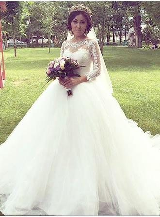 Elegant Court Train Ball-Gown Wedding Dresses Off-The-Shoulder Tulle 3/4 Length Sleeves