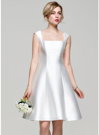 A-Line Square Neckline Knee-Length Satin Bridesmaid Dress