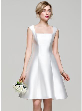 A-Line Square Neckline Knee-Length Satin Bridesmaid Dress