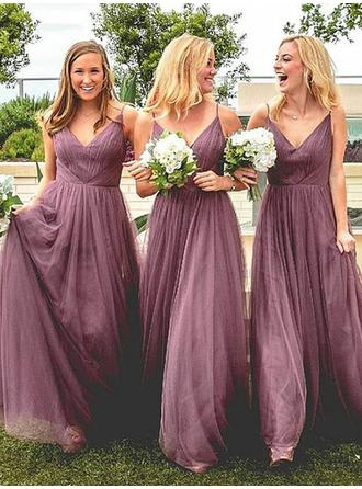 Tulle Sleeveless A-Line/Princess Bridesmaid Dresses V-neck Ruffle Floor-Length