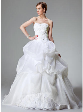 Satin Organza Sleeveless Ball-Gown With Glamorous Wedding Dresses