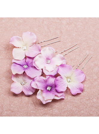 "Hairpins/Flowers & Feathers Wedding/Special Occasion/Casual/Outdoor/Party Crystal/Alloy/Fabric 2.56""(Approx.6.5cm) 2.17""(Approx.5.5cm) Headpieces"
