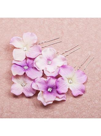 Beau Cristal/Alliage/Tissu épingles à cheveux/Fleurs et plumes (Lot de 6)