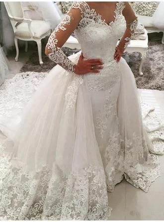 Beautiful Cathedral Train Ball-Gown Wedding Dresses V-neck Tulle Long Sleeves (002147802)