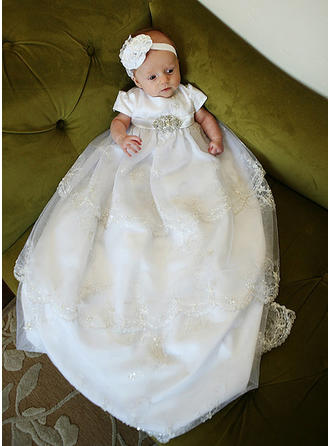 Tulle Scoop Neck Lace Rhinestone Baby Girl's Christening Gowns With Short Sleeves