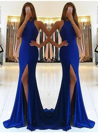 Sheath/Column Halter Jersey Sleeveless Sweep Train Ruffle Evening Dresses
