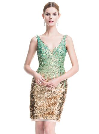 Sheath/Column V-neck Sequined Sleeveless Short/Mini Cocktail Dresses