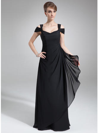 Sheath/Column Off-the-Shoulder Floor-Length Evening Dresses With Cascading Ruffles