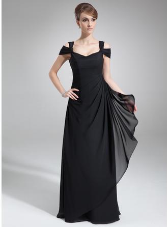 Etui-Linie Off-the-Schulter Bodenlang Abendkleider mit Gestufte Rüschen