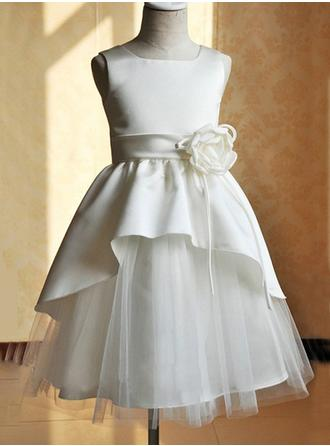 A-Line/Princess Square Neckline Tea-length With Flower(s) Satin/Tulle Flower Girl Dress
