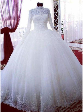 Ball-Gown High Neck Court Train Wedding Dress With Beading Sequins