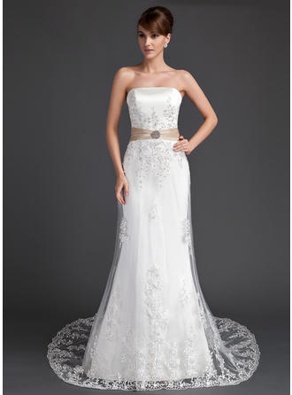 Trumpet/Mermaid Court Train Wedding Dress With Lace Sash Crystal Brooch Sequins