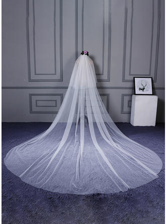 Cathedral Bridal Veils Tulle/Lace One-tier Classic With Cut Edge Wedding Veils