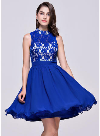 High Neck Sleeveless Chiffon Lace Flattering Homecoming Dresses