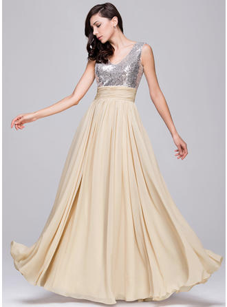 Chiffon Sequined Sleeveless A-Line/Princess Prom Dresses V-neck Ruffle Floor-Length