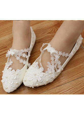 Femmes Bout fermé Chaussures plates Talon plat Similicuir avec Perle d'imitation Une fleur Chaussures de mariage