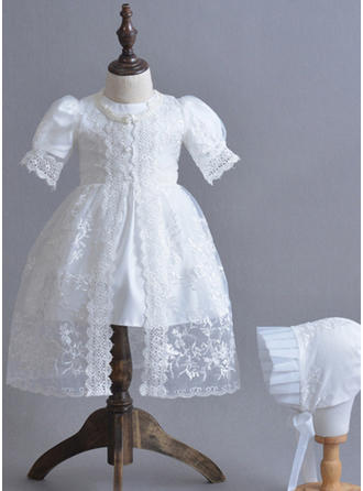 Satin Scoop Neck Lace Baby Girl's Christening Gowns With 1/2 Sleeves