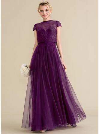 A-Line/Princess Sweetheart Floor-Length Tulle Bridesmaid Dress With Ruffle