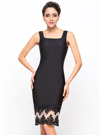 Sheath/Column Jersey Cocktail Dresses Beading Appliques Sequins Sleeveless Knee-Length