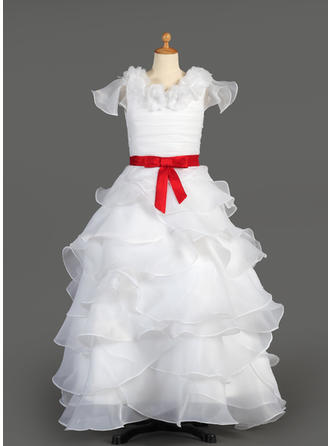 A-Line/Princess Scoop Neck Floor-length With Ruffles/Sash/Flower(s)/Bow(s) Taffeta/Organza Flower Girl Dress