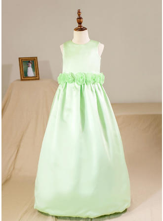 Scoop Neck Ball Gown Flower Girl Dresses Satin Flower(s) Sleeveless Floor-length