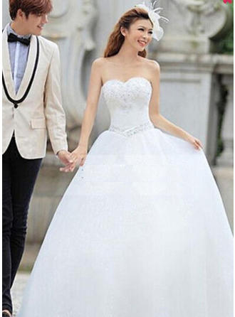Ball-Gown Sweetheart Floor-Length Wedding Dress With Beading Appliques Lace (002148115)