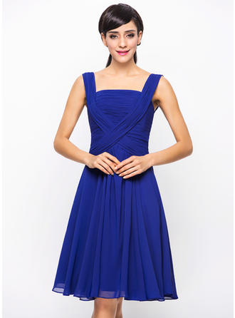 Sleeveless Square Neckline Chic Chiffon A-Line/Princess Cocktail Dresses