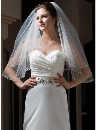 Ellenbogen Braut Schleier Tüll Zweischichtig Klassische Art mit Gebündelter Rand Brautschleier