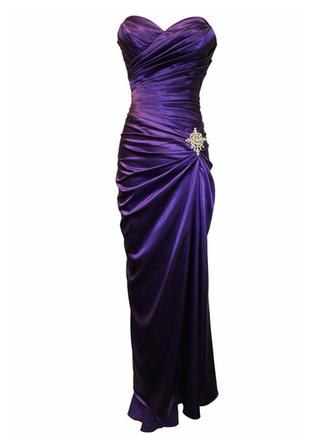 Sheath/Column Sweetheart Floor-Length Charmeuse Mother of the Bride Dress With Ruffle Crystal Brooch