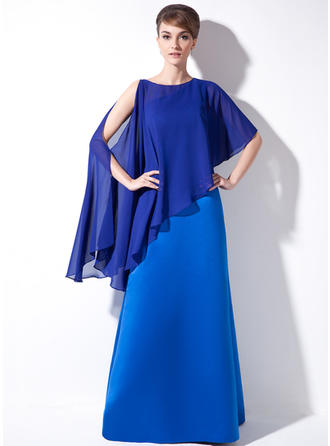 Sheath/Column Satin Sleeveless One-Shoulder Floor-Length Zipper Up at Side Mother of the Bride Dresses