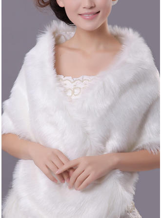 Wrap Fashion Faux Fur Acrylic White Red Wraps