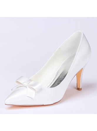 Women's Pumps Stiletto Heel Silk Like Satin With Flower Wedding Shoes