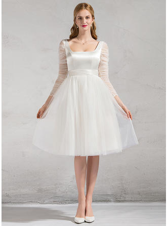 Square A-Line/Princess Wedding Dresses Satin Tulle Ruffle Knee-Length