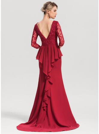 Trumpet/Mermaid Scoop Neck Sweep Train Chiffon Evening Dress With Cascading Ruffles