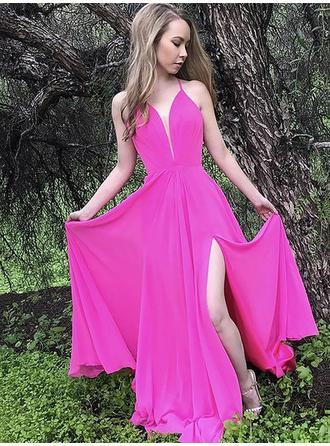 Ruffle Floor-Length Sleeveless With Chiffon Evening Dresses